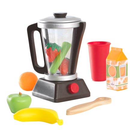 KidKraft Wooden Espresso Smoothie Set with Pretend Fruits and Vegetables Play Food, Removable Lid