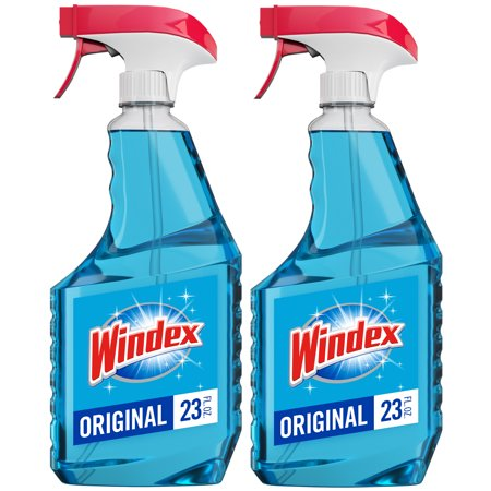 Windex Glass Cleaner Trigger Bottle, Original Blue, 23 fl oz (2 ct)