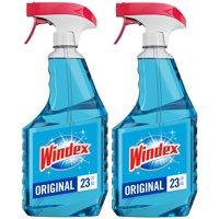 Windex Glass Cleaner Trigger Bottle, Original Blue, 23 fl oz (2 ct)