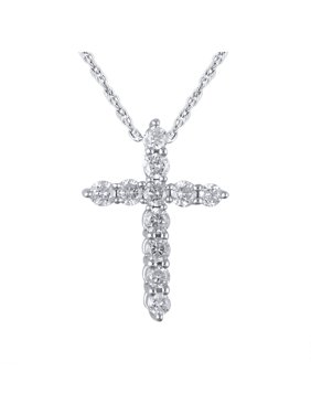 "14K White Gold 1/4 Carat Total Weight Genuine Diamond Classic Cross Pendant with 18"" Rope Chain"