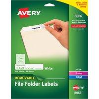 Avery Removable 1/3-Cut File Folder Labels, Inkjet/Laser, .66 x 3.44, White, 750/PK