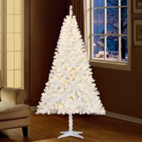 Holiday Time 6.5ft Pre-Lit Madison Pine Artificial Christmas Tree with 350 Clear Lights - White