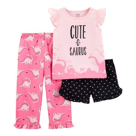 Child of Mine by Carter's Short sleeve t-shirt, shorts, and pants, 3 piece pajama set (toddler girls) - Girl In Pajamas