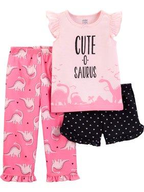 Short Sleeve T-Shirt, Shorts, and Pants, 3 piece pajama set (Toddler Girls)