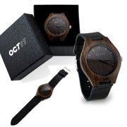 Oct17 Luxury Men's Walnut Wood Fashion Bamboo Wooden Watch Quartz Genuine Leather Japanese Quartz Movement Casual