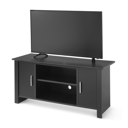 mainstays tv stand for flat screen tvs up to 47 true black oak. Black Bedroom Furniture Sets. Home Design Ideas