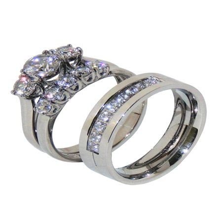 His Hers 3 PCS Stainless Steel 3 Stone Wedding Ring Set Mens 9 CZ Band- Size W5M7 3 Stone Wedding Band