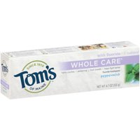 Tom's of Maine Whole Care Peppermint Fluoride Toothpaste, 4.7 oz
