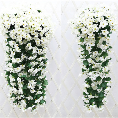 Outgeek 30.5'' Artificial Flowers Romantic Violet Garland Silk Flower Vines with Green Leaves Wall Hanging Decor Home Balcony Gate Garden Decorations Wedding Party Decorative Supplies](Purple Flower Petals)