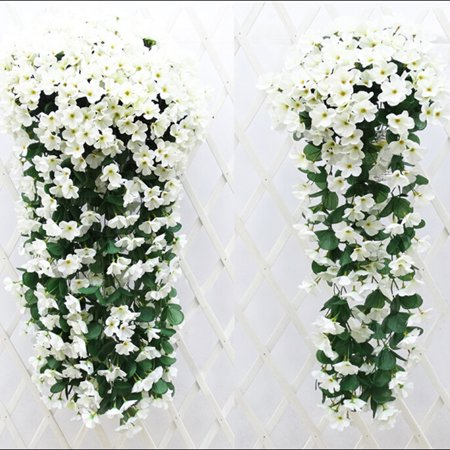 Outgeek 30.5'' Artificial Flowers Romantic Violet Garland Silk Flower Vines with Green Leaves Wall Hanging Decor Home Balcony Gate Garden Decorations Wedding Party Decorative Supplies