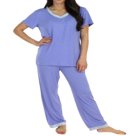 Tank Top Sleepwear Shirt - Pajama Heaven Women's Sleepwear Bamboo Jersey V-Neck Top and Pants Pajama Set With Satin Trim