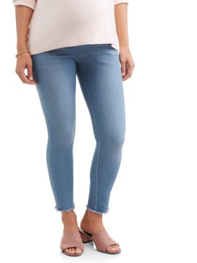 Maternity Full Panel Super Soft 5 Pocket Skinny Jeans with Released Hem - Available in Plus Size