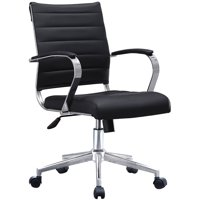 2xhome Black Modern Mid Back Ribbed PU Leather Swivel Tilt Adjustable Chair Designer Boss Executive Management Manager Office Chair Conference Room Ergonomic Computer Contemporary With Arms Wheels