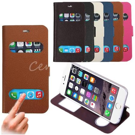 (6 Colors) Protective Phone Case Cover Stand - Luxury Smart Window View Flip Leather Hard Case Cover Stand For Phone 6 4.7- Mobile phone Accessories