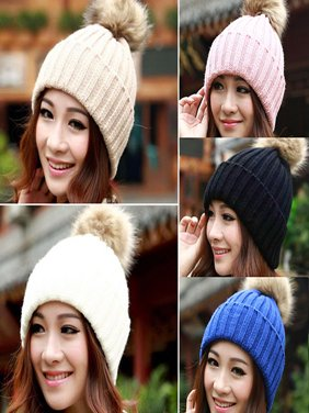 93f0dd3eedf Product Image HiCoup Women Winter Warm Braided Crochet Knitting Hat Girl Beret  Ski Beanie Ball Cap