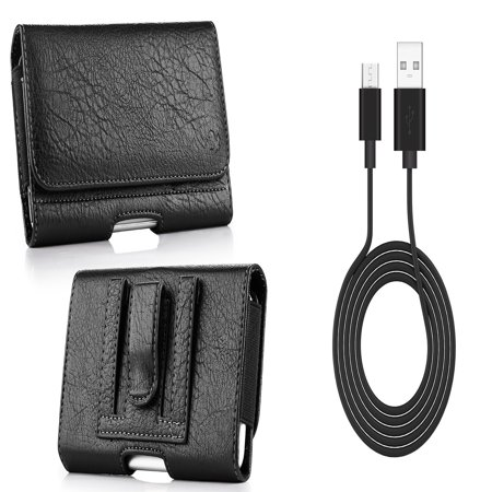 Black Leather Carry Case (Bemz Accessory Bundle for AT&T AXIA - PU Leather Wallet (Card Slot/Coin Holder) Holster Carry Case (Black) with Durable Fast Charge/Sync Micro USB Charger Cable (3.3 Feet) and Atom Cloth )