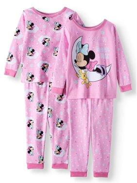 Minnie Mouse Cotton Tight Fit Pajamas, 4-piece Set (Baby Girls)