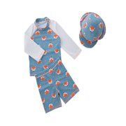 756dbe257f stylesilove Boys Little Fox Rashguard Swimsuit and Shorts With Hat 3 Pcs  Set (3/