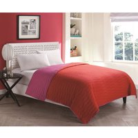 VCNY Home Ryder Two-Tone Geometric Stitched Reversible Bedding Quilt, Multiple Colors Available