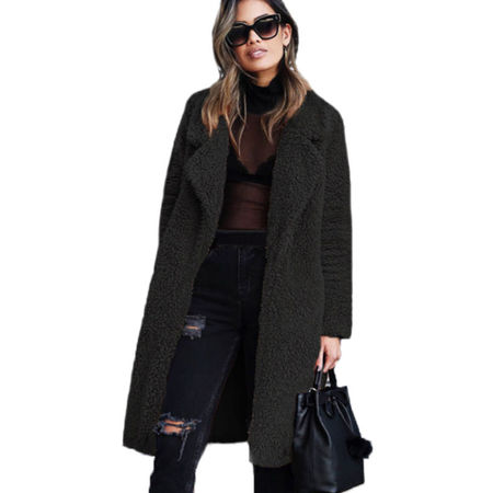 Womens Fluffy Fleece Long Trench Coat Jacket Faux Fur Borg Outwear Warm (Fur Womens Mink Coat)