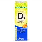 Spring Valley Liquid Vitamin D3, Citrus Flavor, 2000 IU per Serving, 118 Doses, 2 Oz