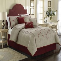 Chezmoi Collection Miki 7-piece Luxury Red Cherry Blossoms Floral Embroidery Bedding Comforter Set
