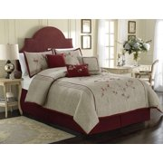 91b1317ad36 Chezmoi Collection Miki 7-piece Luxury Red Cherry Blossoms Floral  Embroidery Bedding Comforter Set