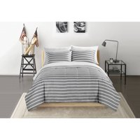 Your Zone Grey and White Stripe Bed in a Bag Set