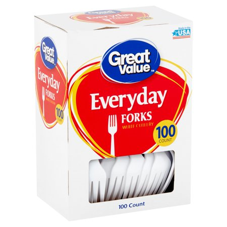 (3 pack) Great Value EveryDay White Forks, 100 Count (Picnic Serving Utensil Fork)