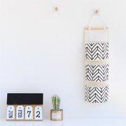 eb501b11f Black and White 3-pocket Hanging Bag Wall Cotton Linen Cloth Hanging  Storage Bag Nordic