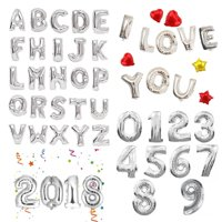 "16"" 40"" Large Foil Balloons Silver Letter Number Inflated Float Helium Balloon Birthday Wedding Christmas Party Banner Decoration"