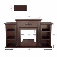 "70"" TV Stand Firplace Stand Media Console Bookcase, Espresso"