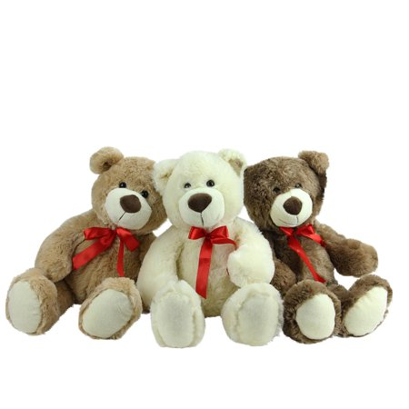 Set of 3 Brown Tan & Cream Plush Children's Teddy Bear Stuffed Animal Toys 20