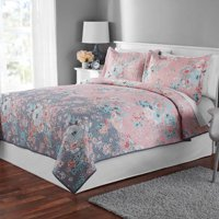 Mainstays Pink/Gray Floral Quilt and Sham Collection