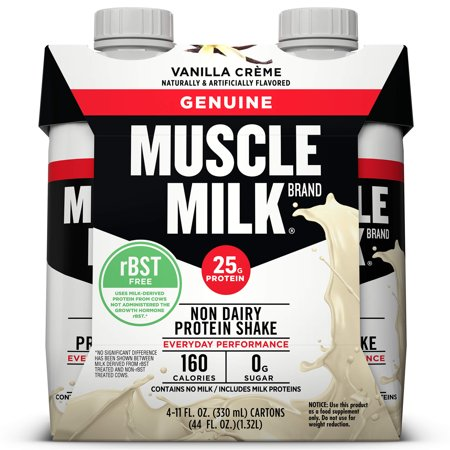 Muscle Milk Genuine Non-Dairy Protein Shake, Vanilla Crème, 25g Protein, Ready to Drink, 11 fl. oz., 4 (Best Protein To Add Muscle Mass)