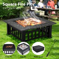 "Yaheetech 32"" Outdoor Metal Firepit Backyard Patio Garden Square Stove Fire Pit With cover"