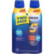 Coppertone Sport Sunscreen Spray SPF 30, Twin Pack (5.5 oz each)