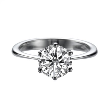 2 Carat Lab Created White Sapphire Ring White Gold 14K 6 prongs Round 2 Carat Fine Prong
