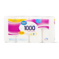 Great Value 1000 Sheet Toilet Paper, 8 Rolls