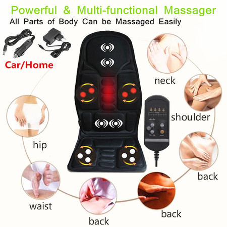 8 Mode 3 Intensity Car/Home Chair Seat Cushion Full Body Electric Therapy Vibration Shiatsu Kneading Rolling Vibration Massager Mat Pad with Heat Full Back & Neck Leg Hips Lumbar