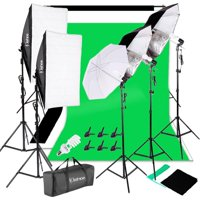 Ktaxon Photo Studio Photography Kit 45W Light Bulb Lighting 3 Color Backdrop Stand Set
