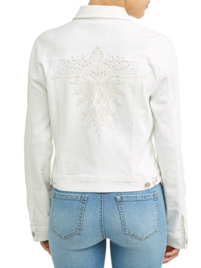 Angela Embroidered Evil Eye Denim Jacket Women's (White)