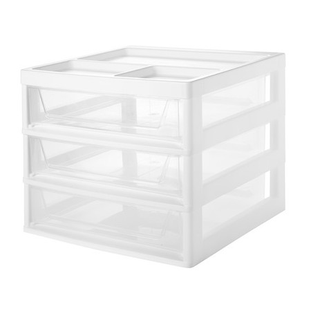 - IRIS 3-Drawer Scrapbook Table Storage Chest, White