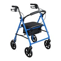 "Drive Medical Steel Rollator Rolling Walker with 8"" Wheels, Blue"