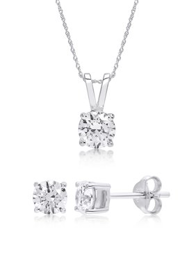Round Cubic Zirconia Stud Earring and Pendant Set