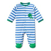 21d0ceb985 Little Me Leap Frog Striped Snap Front Footie Pajamas with Green Frog Feet  For Baby Boys