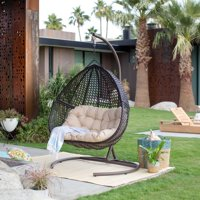 Belham Living Samos Resin Wicker Hanging Double Egg Chair with Cushion and Stand