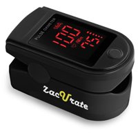 Zacurate Pro Series 500DL Fingertip Pulse Oximeter Blood Oxygen Saturation Monitor with Silicon Cover, Batteries and Lanyard, Mystic Black