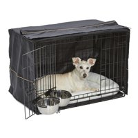 Dog Crate Starter Kit   One 2-Door iCrate, Pet Bed, Crate Cover & 2 Pet Bowls   30-Inch Ideal for Medium Dog Breeds