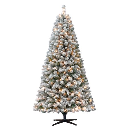 Holiday Time 6.5ft Flocked Pre-Lit Crystal Pine Artificial Christmas Tree  with 250 Clear - Holiday Time 6.5ft Flocked Pre-Lit Crystal Pine Artificial Christmas